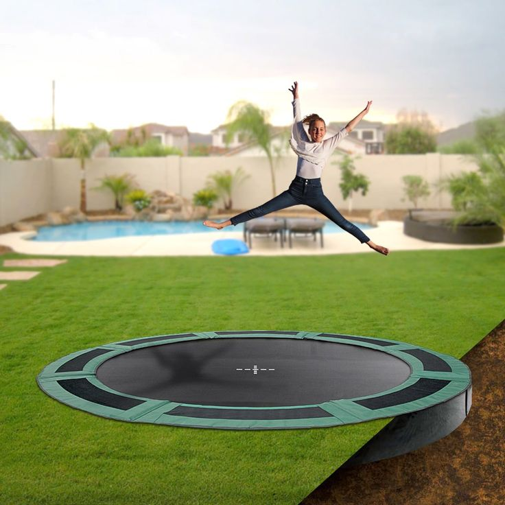 Keep your backyard looking stylish whilst letting the kids have fun on an Oz Trampolines inground trampoline. Available in a variety of shapes and sizes, they are the perfect, safe backyard accessory. #oztrampolines #trampolines #inground #backyard #play #outdoor #safety #safeplay #fitkids
