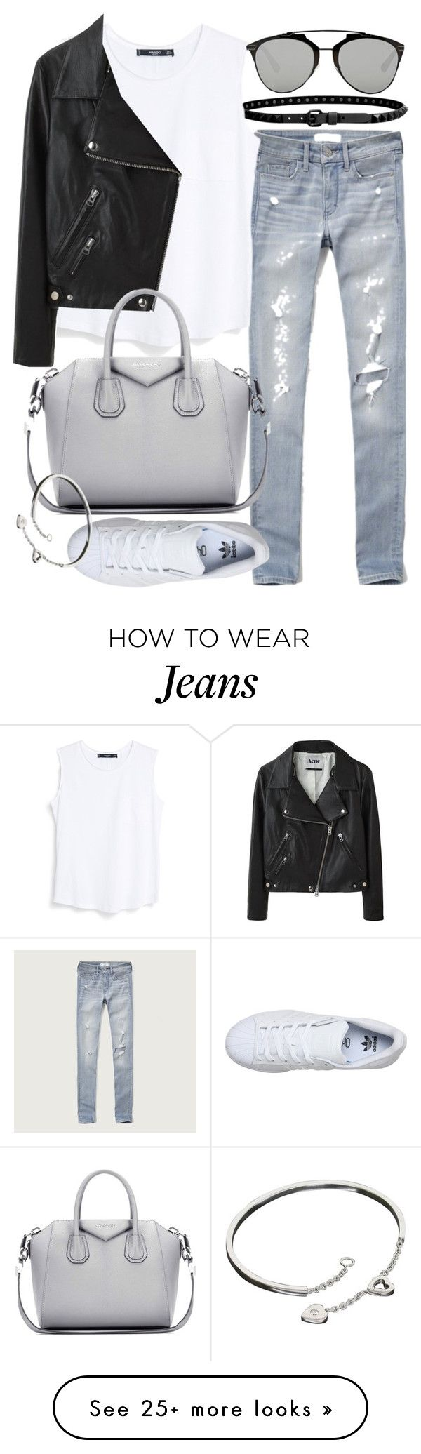 """""""Untitled #19532"""" by florencia95 on Polyvore featuring Abercrombie & Fitch, Linea Pelle, MANGO, Acne Studios, Givenchy, adidas, Cartier, Christian Dior, women's clothing and women"""