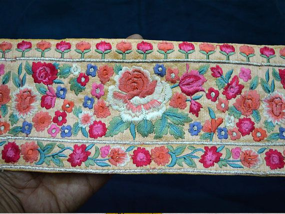 Decorative Indian Sari Border Embroidered Ribbon Trims Indian Trim By The Yardsilk Sewing Fabric Trim Craft Ribbon Trimmings Fabric Trim Sewing Fabric Indian Fabric