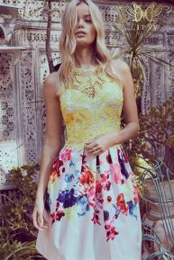 Lipsy VIP Lace Top Prom Printed Skirt Dress