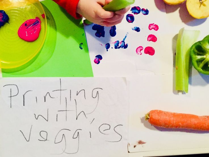 Vegetable printing: painting with vegetables is a fun way to explore different shapes and textures. It also helps me feel better about the otherwise wasted veg that is past its best!