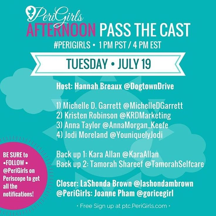 JOIN US TODAY JULY 18, 2016 at 1PM PST for the PeriGirls Pass The Cast!🔴 🎉  Come meet some amazing ladies from our PeriGirls Sisterhood and watch them ROCK it out! Bring your heart tapping fingers and super supportive comments! . Here is our final line up for today! Host: Hannah Breaux @DogtownDrive 1) Michelle D. Johnson Garrett @MichelleDGarrett 2) Kristen Robinson @KRDMarketing 3) Anna Morgan @AnnaMorgan_Keefe 4) Jodi Moreland @YouniquelyJodi