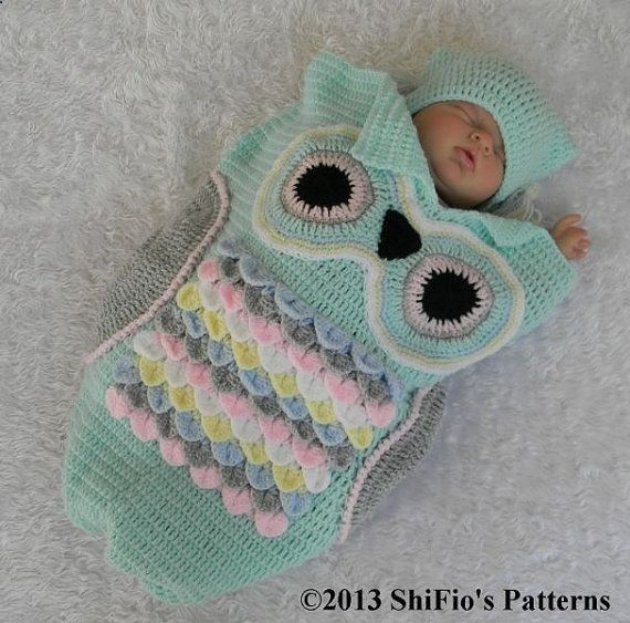 Crochet Baby Papoose Pattern Free : Baby Crochet Pattern Cocoon Papoose Hat Owl Crochet by ...