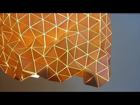 DIY:   lampara , pantalla de  diseño geometrico com madera y tela, Geometric design lamp - YouTube