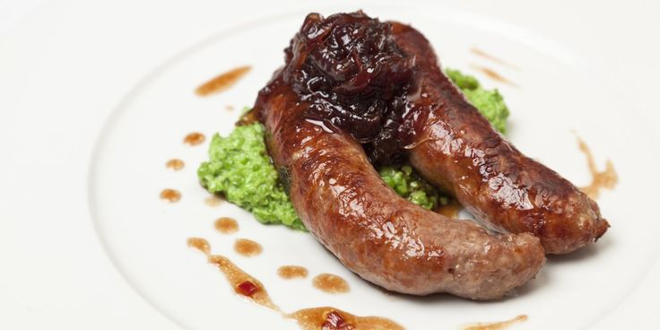This is a classic British dish, pairing meaty sausages with crushed peas and onion marmalade. A savoury pork sausage recipe from chef Galton Blackiston
