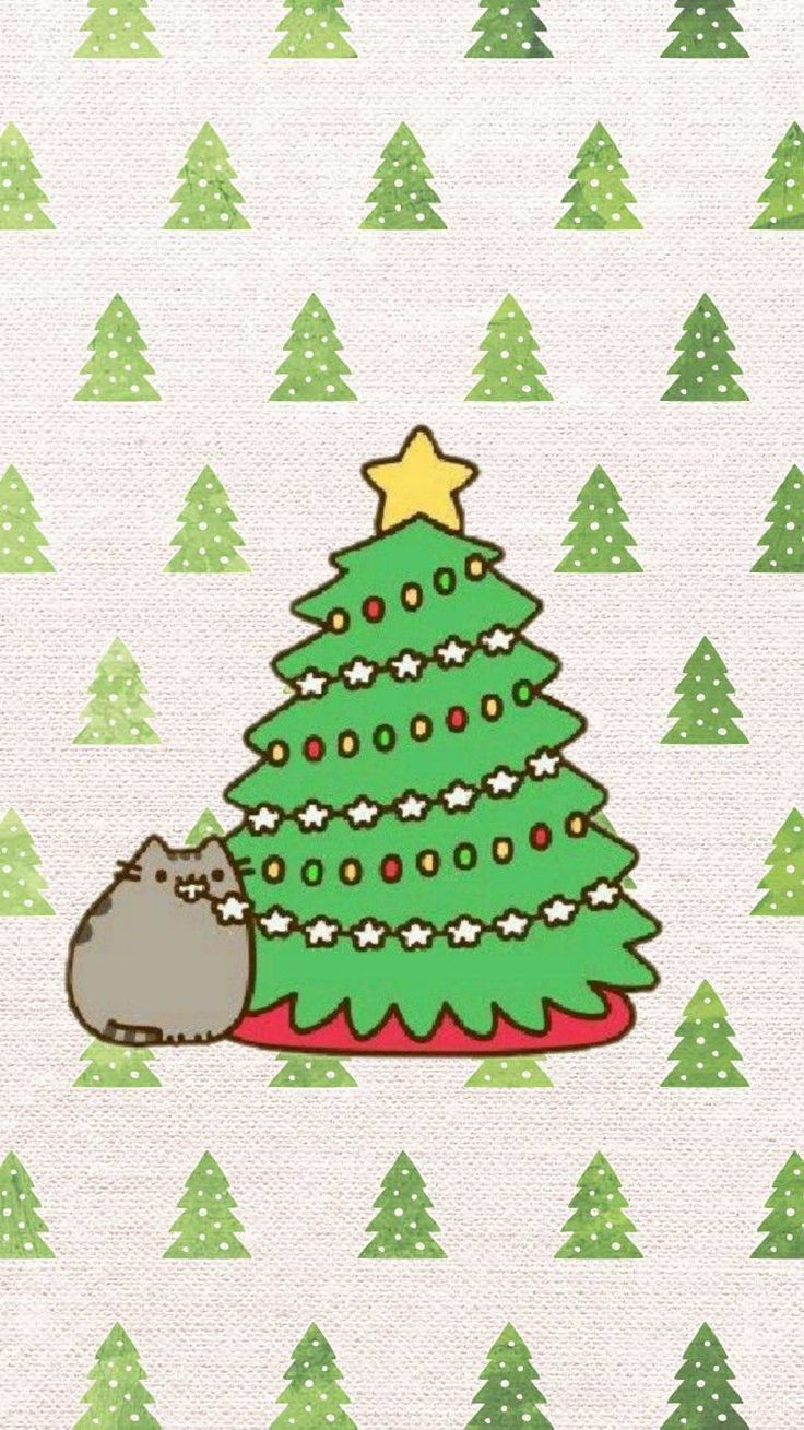 Pin By Cinders On Papel De Parede Pusheen Christmas Christmas Phone Wallpaper Funny Christmas Wallpaper