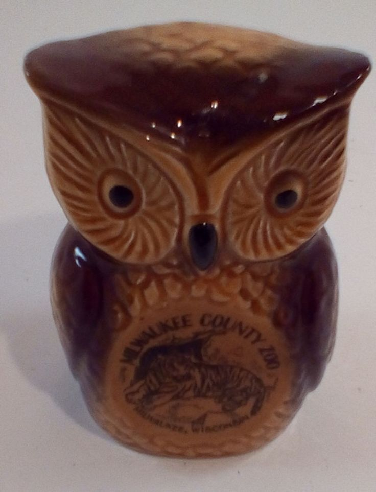 Ceramic Owl Piggy Bank Advertising Milwaukee Zoo Souvenir  #unbranded