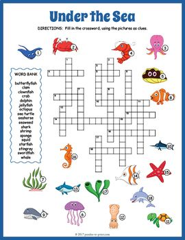 Your kiddos will be having fun while they learn the names of 18 wonderful critters and plants that live under the sea with this marine life crossword  puzzle.  Each of the clues is a friendly drawing: puzzlers will have to write in the name for each one.