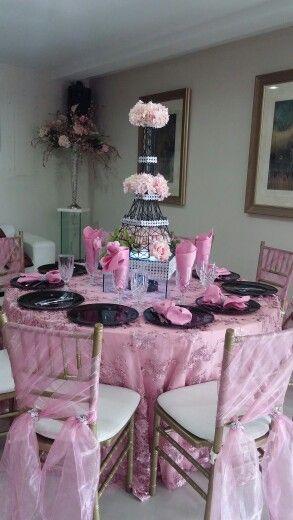 Paris theme table centerpiece