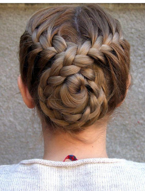 Braided back bun hairstyle: