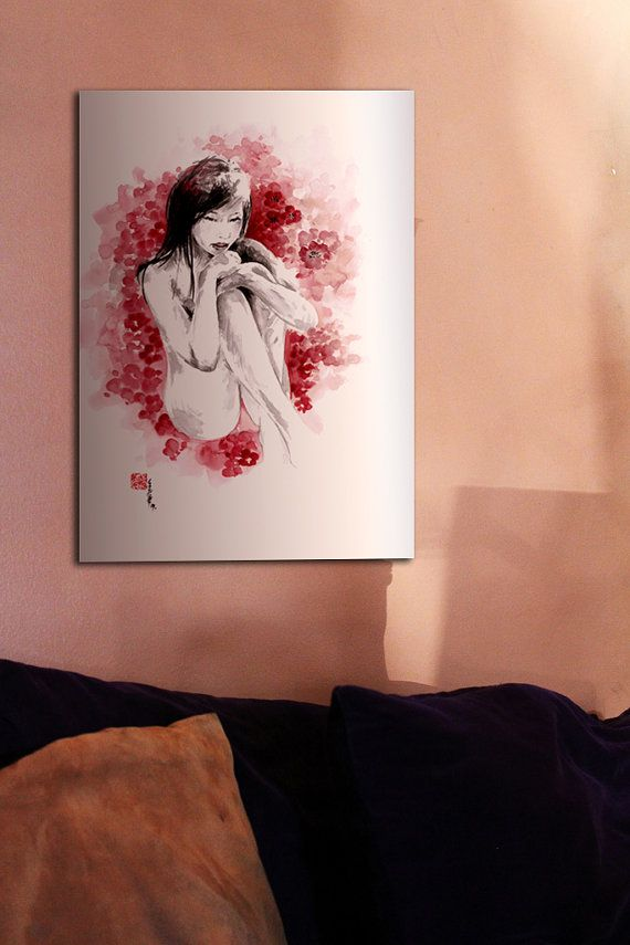 SUNAO watercolor high quality giclee fine art print black red pink Young Erotic Girl Woman in Cherry Blossom Petals Portrait
