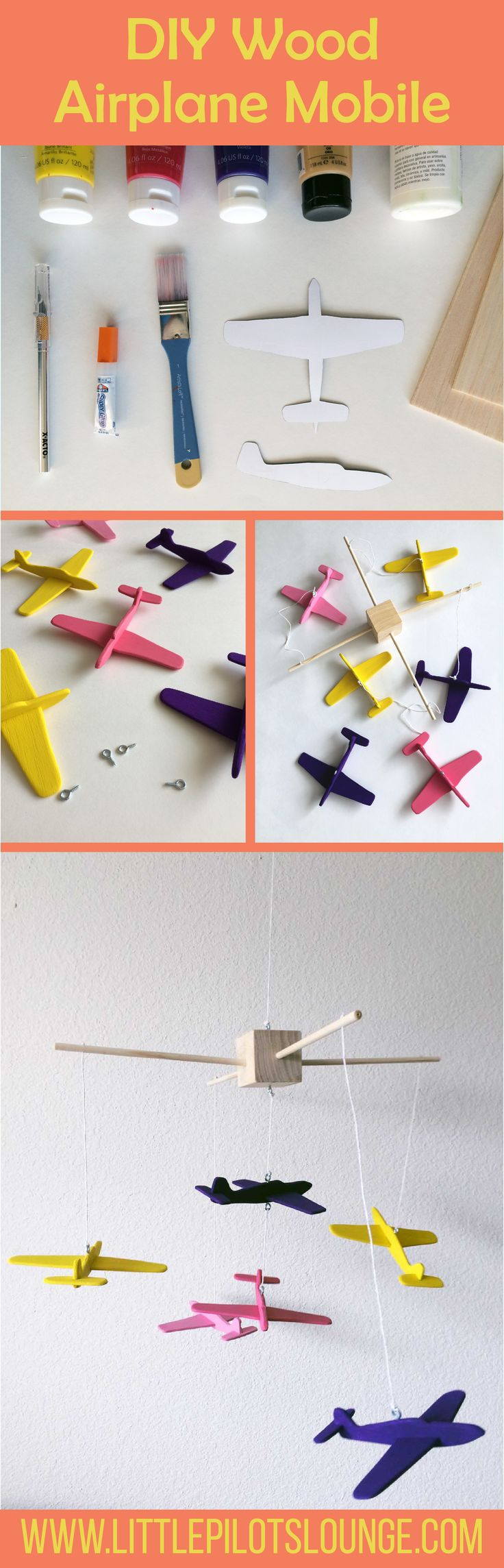 This wood airplane mobile is so easy and it looks adorable. I've been trying to decide if I should make my own nursery mobile and I think this is one project I can tackle.