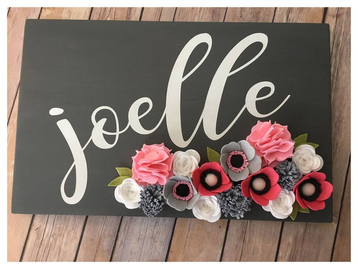 Personalized Name Sign with Felt flowers  Customized Sign