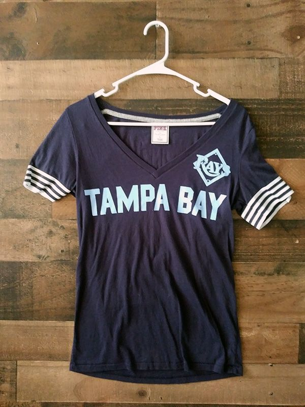 79557274a Ladies MLB Baseball TAMPA BAY RAYS Love Pink Open V-Neck Shirt