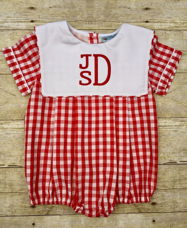 Lg. Red Gingham Classic Square Collar Monogrammable Boys Bubble