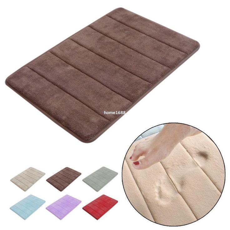 Stylish Design Coral Velvet/Memory Foam Non Slip Back Rug Soft Bathroom  Carpet Memory Foam