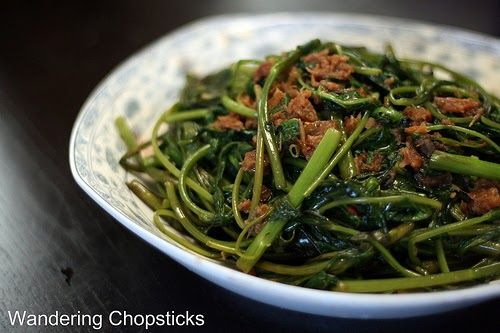 Kangkong Belacan Malaysian Stir Fried Water Spinach Shrimp Paste