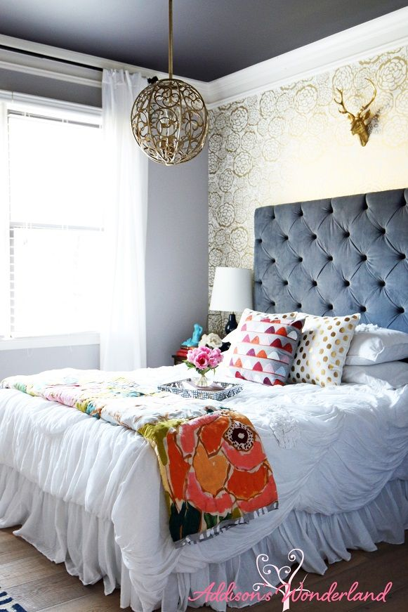 SW Ponder with gold and bold florals, velvet upholstered headboard!