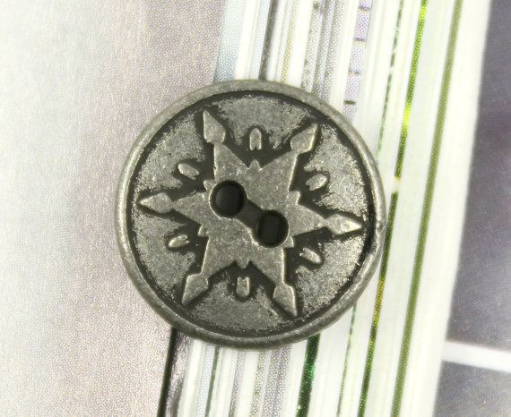 Metal Buttons - Hexastar Metal Buttons , Dull Silver Color , 2 Holes , 0.59 inch , 10 pcs