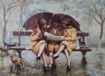 Три девицы под дождем. Весна.