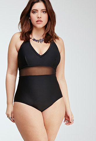 I want this bathing suit this year! Perfect. Black. Mesh. Forever21 plus.