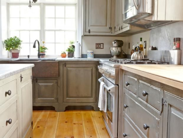 Milk paint traditional l shaped kitchen cabinets 20 000 - Kitchen cabinets philadelphia ...