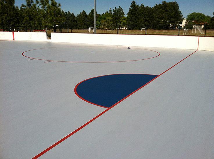 Freshly resurfaced inline hockey rink at public park in Pinehurst.
