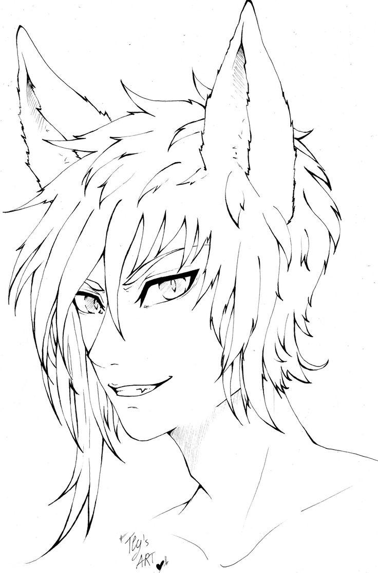 fox boy anime manga oc lineart cute ink Anime