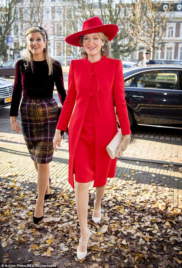 Queen Máxima of the Netherlands, left, and Queen Mathilde of Belgium, right, were both looking their elegant best as they paid a visit to a welfare organisation in Amsterdam 29 Nov 2016