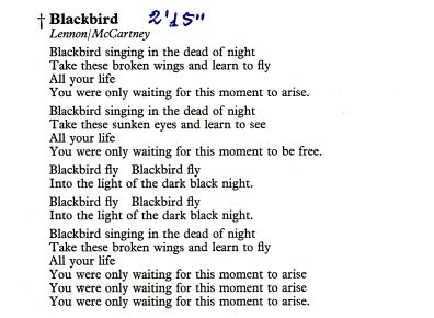 Blackbird by The Beatles, Chords & Lyrics @ The Acoustic ...