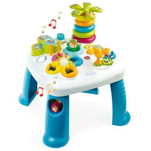 Smoby aktivitetsbord - Cotoons Activity table - Blå Med puttekasse, stabletårn, tromme, drejende blomst og meget mere - Coop.dk