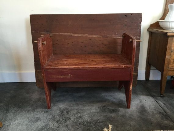 Antique Bench and Tilt Table Primitive Tilt by EstateSaleCompany