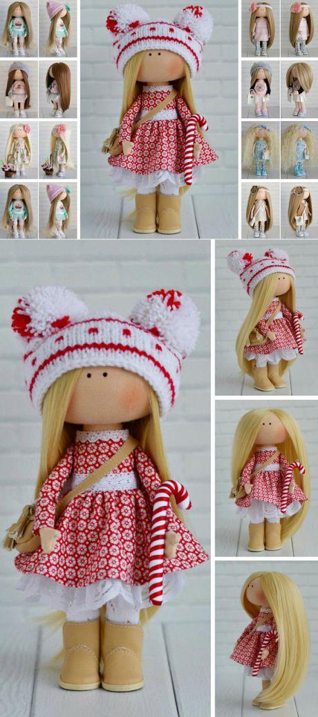 Winter Christmas Doll Handmade Tilda Doll Red Decor Doll Art