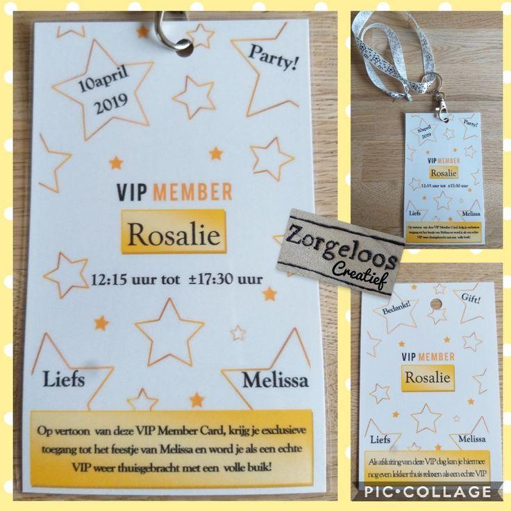 VIP-pas/ VIP-kaart uitnodiging voor tiener kinderfeestje met bijpassend bedankkaartje.