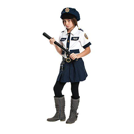 Kostümplanet® Polizistin-Kostüm Mädchen Kind mit Polizei-Mütze + Handschellen + Schlagstock Polizei-Kostüm Kinder Polizeikostüm Größe 128