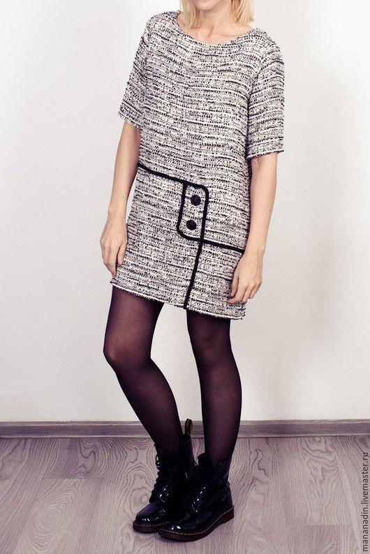 Платья ручной работы. Ярмарка Мастеров - ручная работа. Купить Платье Шанелька. Handmade. Чёрно-белый, платье, платье шанелька