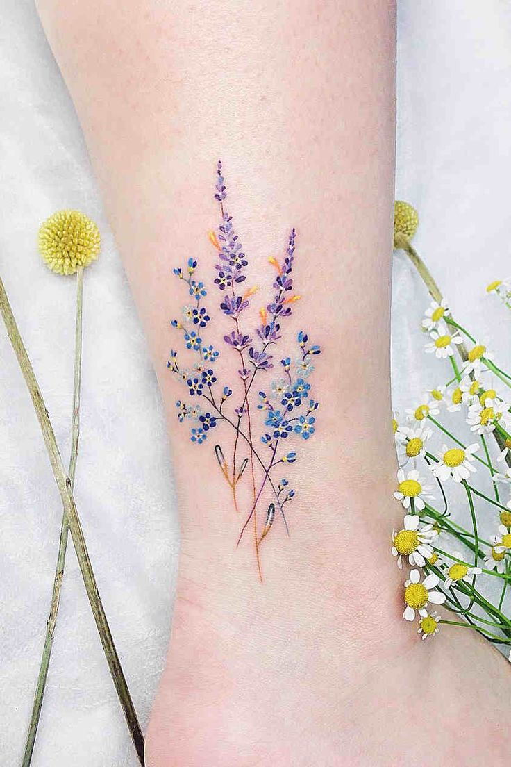 84 Small Flower Ankle Tattoo Ideas For Girls and Women