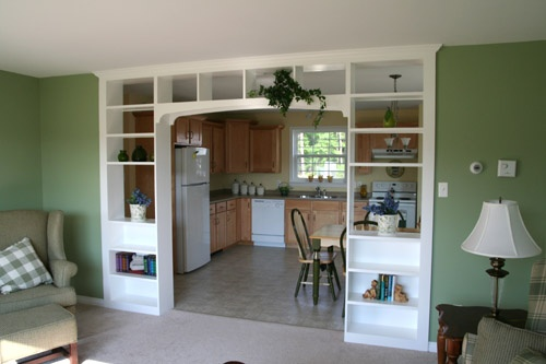 A neat idea for extra storage spaces pinterest - Built in room dividers ...