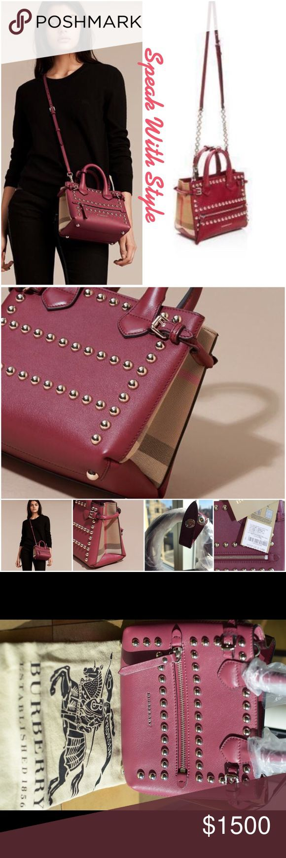Burberry Banner Satchel In Studded Leather 💕 NWT! This Burberry banner studded leather satchel with English-woven house check cotton will be a beautiful addition to your handbag collection. The unique color will easily transition through every season. This satchel has a detachable shoulder strap that may be worn as a handbag, on your shoulder, or cross body. Comes with dust bag. It's truly an exquisite piece💕 Burberry Bags Shoulder Bags