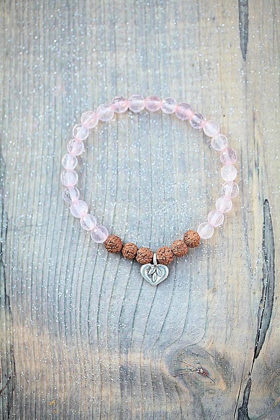 Rudraksha bracelet Heart charm silver rose quartz gift