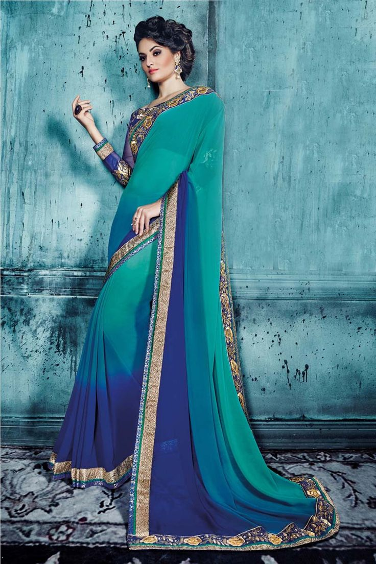 Buy Green Georgette Designer Saree Online in low price at Variation. Huge collection of Designer Sarees for Wedding. #designer #designersarees #sarees #onlineshopping #latest #lowprice #variation. To see more - https://www.variation.in/collections/designer-sarees.