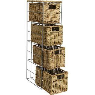 Buy HOME Slimline 4 Drawer Seagrass Storage Tower - Natural at Argos.co.uk…