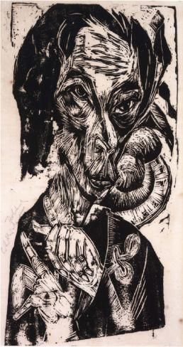 Ernst Ludwig Kirchner  - Kopf des Kranken -Woodcut, 1917-18 57.5 x 43.5 cms Plate size: 57.0 x 27.8 cm