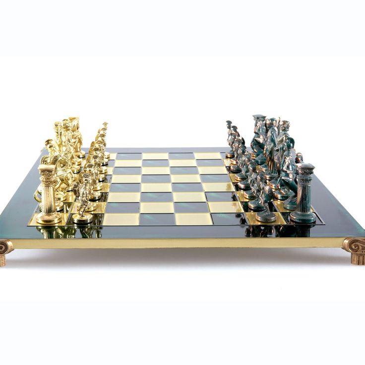 Chess Set  Greek Roman Period (Large) - Gold/Green - Handcrafted Metallic Chess green
