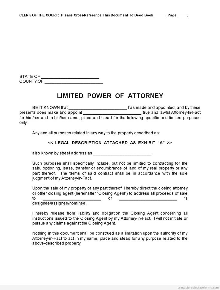 sample printable limited power of attorney form