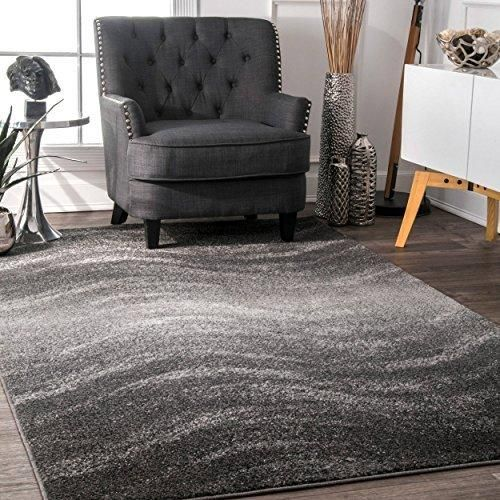 4' x 6' Waves Pattern Dark Grey Area Rug Polypropylene Geometric Soft Plush Gray Transitional Abstract Country Southwestern Classic Kids Tween Indoor