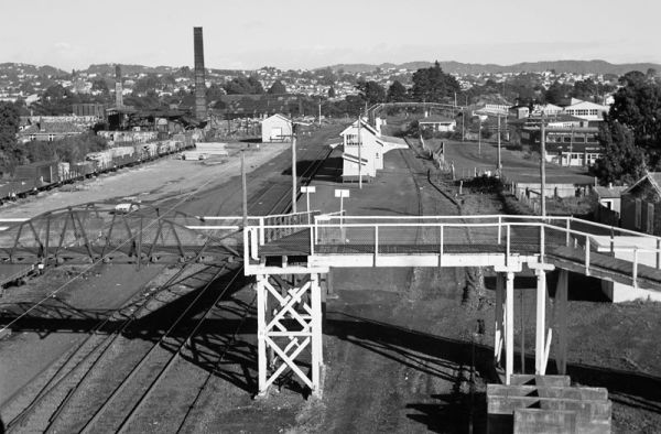 Panorama from New Lynn station signal mast. July 1970.