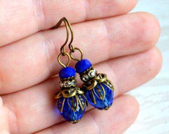 Bridesmaid earrings Navy blue Bridesmaid Jewelry Dark blue jewelry Bridesmaid Gift Navy blue earrings for wedding Sapphire blue earrings