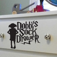 Dobby's Sock Drawer Dresser Decal by PeelAndStickDecals on Etsy