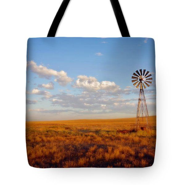 All Tote Bags - Wyoming Windmill at Sunset Tote Bag by Amanda Smith